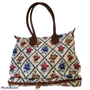 Orvis unique vintage floral embroidered tote bag